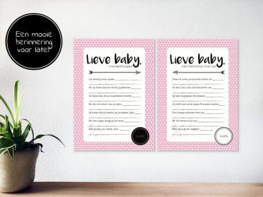 Lieve Baby voorspellingskaarten 15x Roze