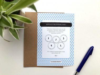 Oppasstrippenkaart met envelop blauw
