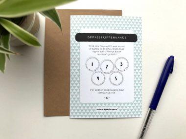 Oppasstrippenkaart met envelop mintgroen