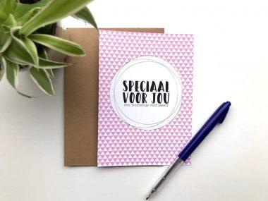 Oppasstrippenkaart met envelop roze
