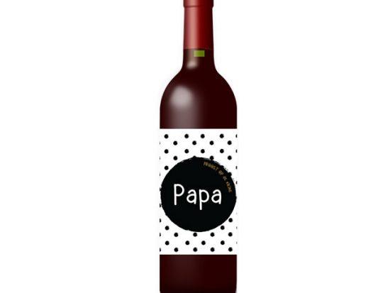 Wijnetiket: Papa proost op de kleine